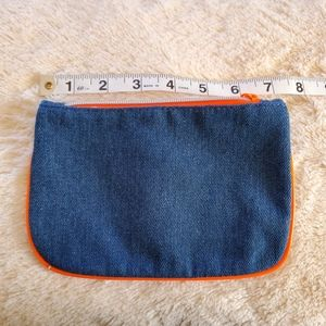 New Blue and Orange Denim Ipsy Bag